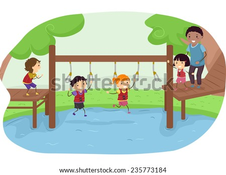 Illustration of Kids Competing in an Obstacle Race in a Park - stock vector