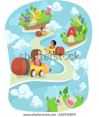Illustration of Kids Driving Around in Pencil Shaped Cars - stock vector