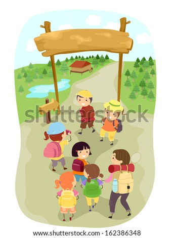Illustration of Kids Entering a Camp Site - stock vector