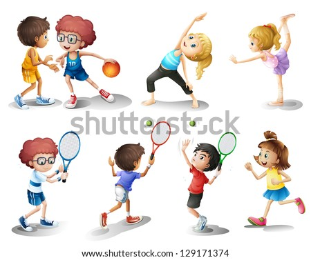 Illustration of kids exercising and playing different sports on a white background - stock vector