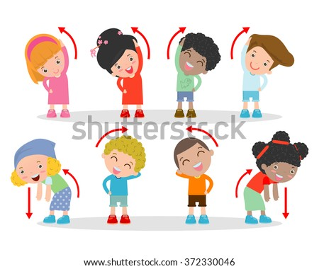illustration of kids exercising kids exercising child exercising happy kids exercising vector - Exercise Pictures For Kids