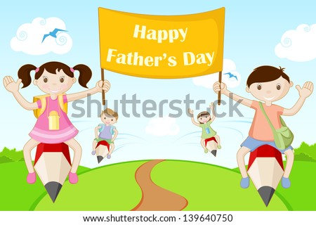 illustration of kids flying with Happy Father's Day banner - stock vector
