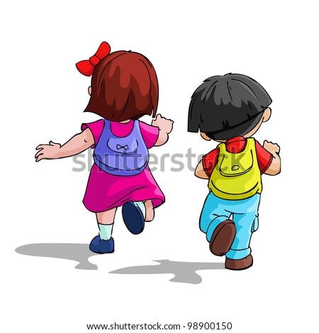 illustration of kids going to school with bag pack - stock vector