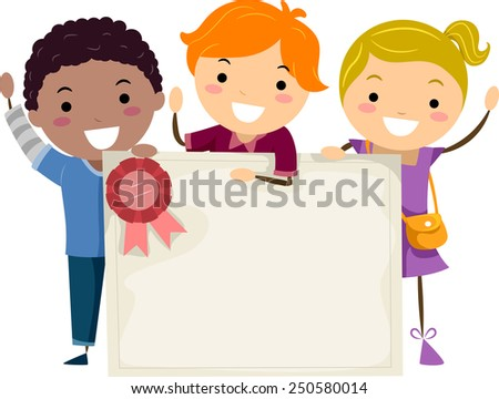Illustration of Kids Holding a Group Certificate - stock vector