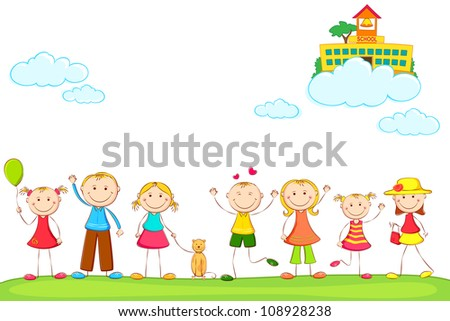 illustration of kids holding hand with school on cloud - stock vector