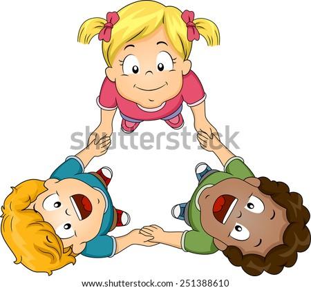 Illustration of Kids Huddling Together to Form a Circle - stock vector
