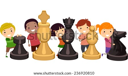 Illustration of Kids Hugging Giant Chess Pieces - stock vector