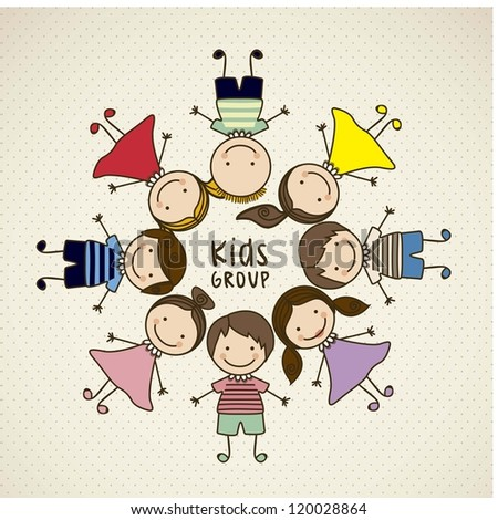 Illustration of kids icons, kids groups, vector illustration - stock vector