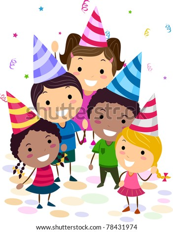 Illustration of Kids in a Birthday Party looking up - stock vector