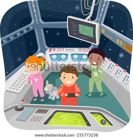 Illustration of Kids in a Spaceship Control Room - stock vector