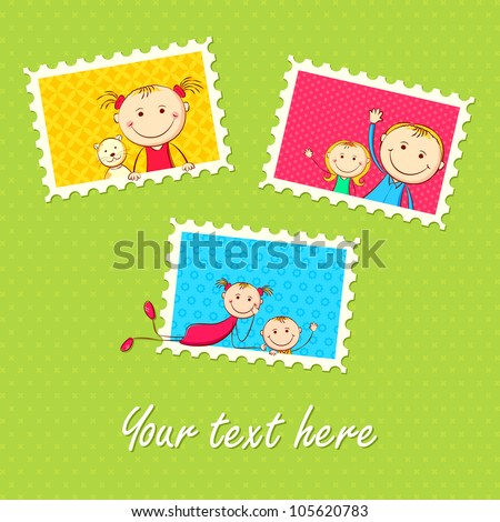 illustration of kids in different photo frame