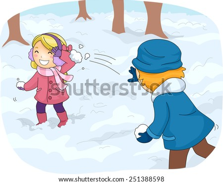 Illustration of Kids in Winter Gear Having a Snowball Fight - stock vector