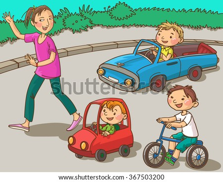 Illustration of Kids learning driving. Isolated objects on white background. Great illustration for School books, Magazines, Advertising and more. VECTOR.  - stock vector