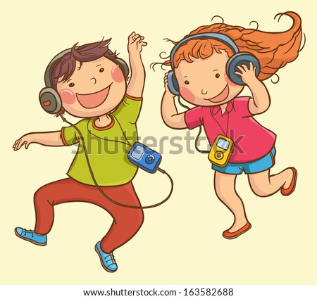 Illustration of Kids listening music iPod  . Children illustration for School books, pictures books, advertising, magazines and more. Separate Objects. VECTOR. - stock vector