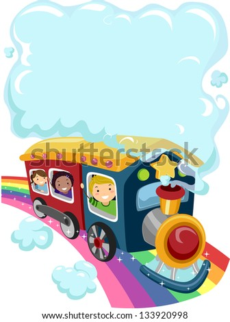 Illustration of Kids on a Rainbow Train with a Cloud of Smoke - stock vector