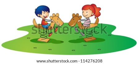 illustration of kids on a white background - stock vector
