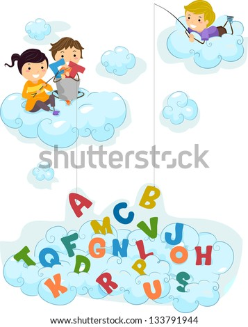 Illustration of Kids on Clouds fishing for Letters - stock vector