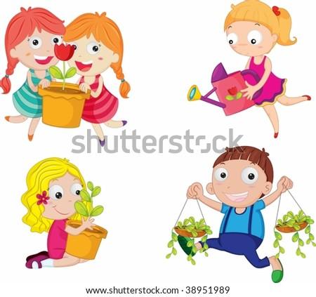 illustration of kids on white - stock vector
