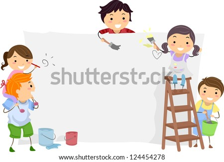 Illustration of Kids Painting a Blank Board - stock vector
