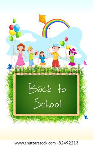 illustration of kids playing above chalk board with back to school written - stock vector