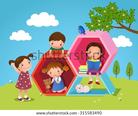 Illustration of kids playing and reading with hexagon shaped in the yard
