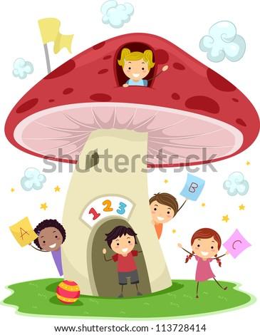 Illustration of KIds Playing Around a Mushroom-Shaped School - stock vector
