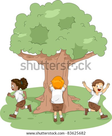 Illustration of Kids Playing Hide and Seek at Camp - stock vector