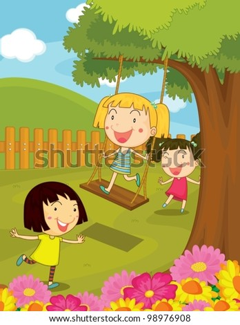 Illustration of kids playing in the park - stock vector