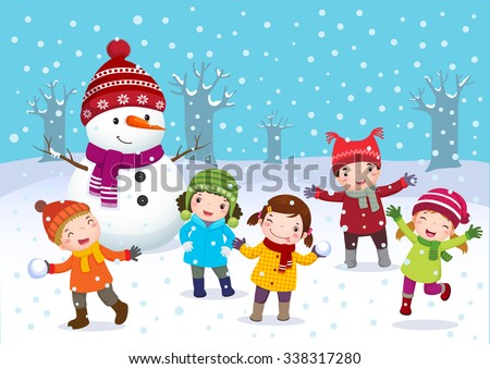 Illustration of kids playing outdoors in winter - stock vector