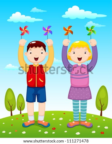 illustration of kids playing wind wheel - stock vector