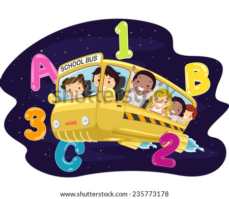 Illustration of Kids Riding a Bus in the Outer Space - stock vector