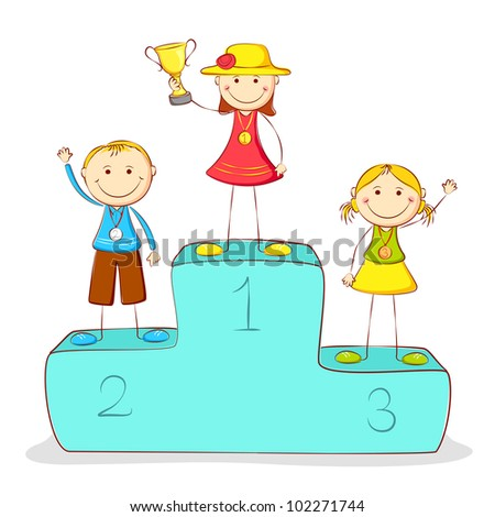 illustration of kids standing on victory podium with medal - stock vector
