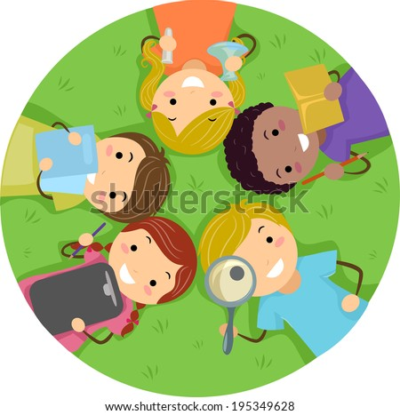 Illustration of Kids Studying While Lying on the Grass - stock vector
