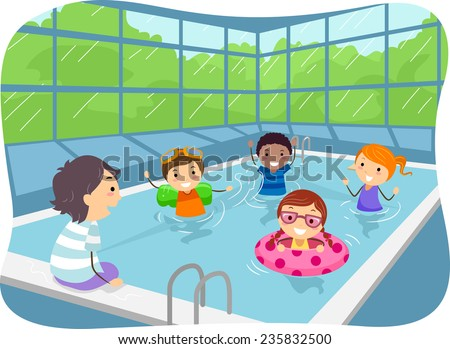 Illustration of Kids Swimming in an Indoor Swimming Pool - stock vector