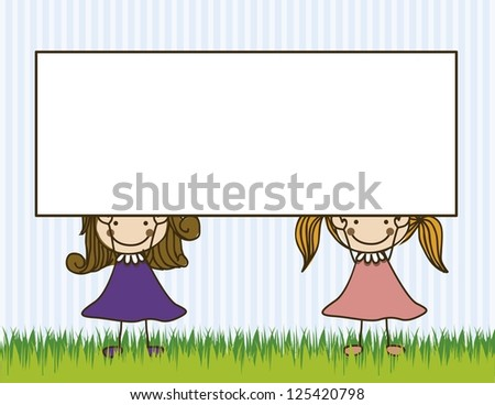 Illustration of kids team, in cartoon style and sketch, vector illustration - stock vector