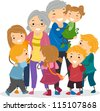 Illustration of Kids Trying to Catch Their Grandparents' Attention - stock vector