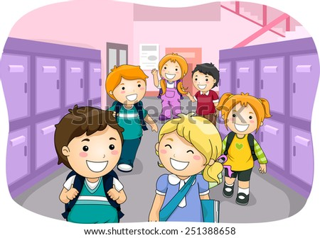 Illustration of Kids Walking Down a Hallway Lined Up With Lockers - stock vector