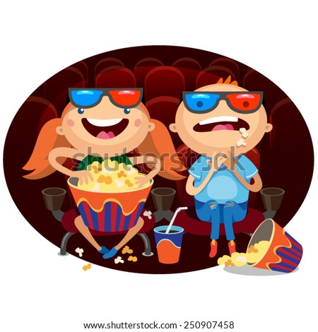 Illustration of Kids watching a movie in 3D - stock vector