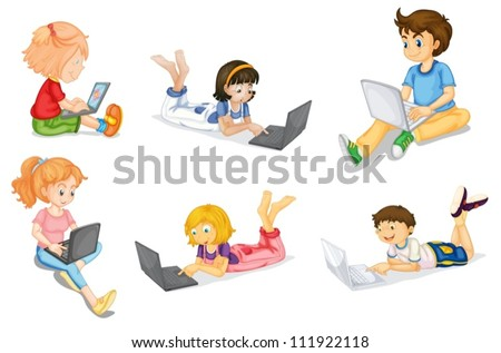 illustration of kids with laptop on a white - stock vector