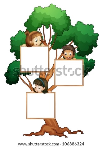 illustration of kids with whiteboard on the tree - stock vector