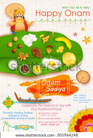 illustration of King Mahabali in Onam Sadya background - stock vector