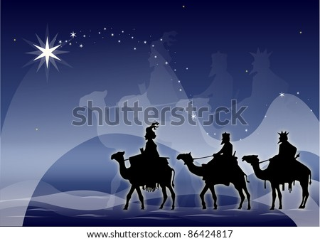 illustration of kings' magicians silhouette has more than enough starry bottom - stock vector