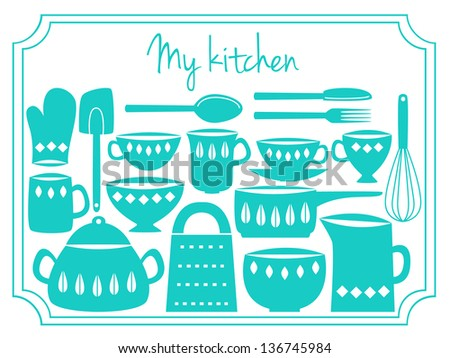 Illustration of kitchen dishes and utensils, retro style - stock vector