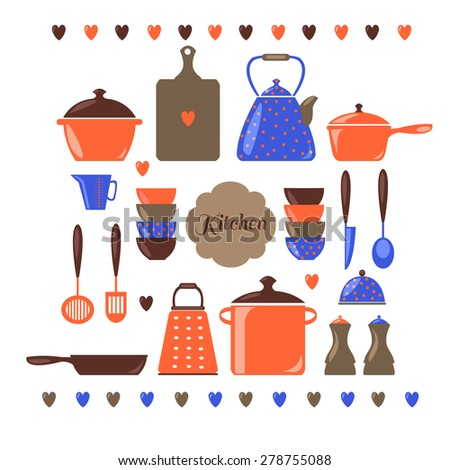 Illustration of kitchen equipments and utensils