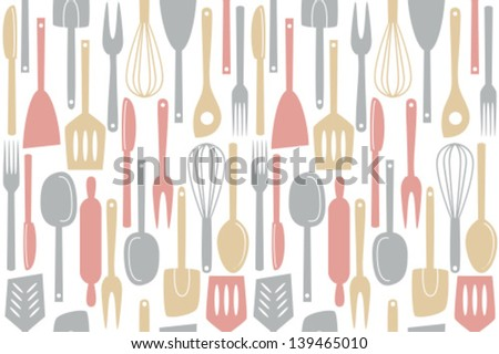 Illustration of kitchen utensils and cutlery, seamless pattern - stock vector