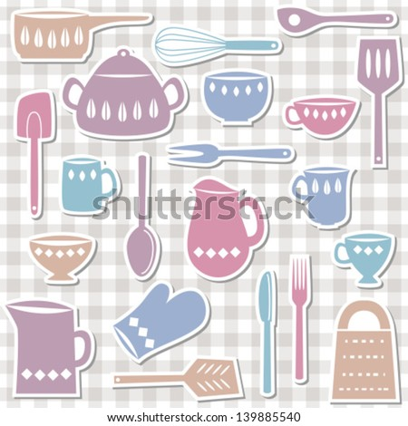 Illustration of kitchen utensils and cutlery, sticker style - stock vector