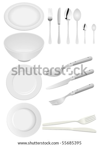Illustration of kitchen ware isolated on white - stock vector
