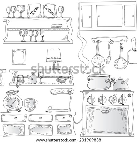 Illustration of kitchenware and home appliances  drawn in simple manner on white - stock vector