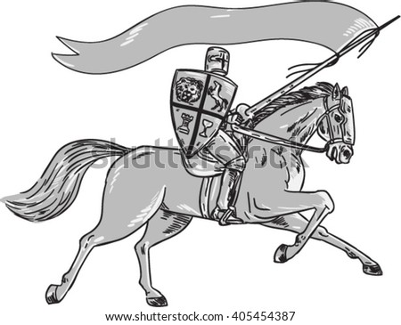 Illustration of knight horseback in full armor holding lance, shield and flag riding horse viewed from the side on isolated white background done in retro style.