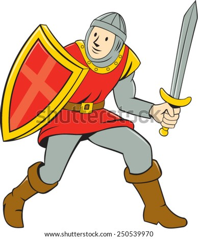 Illustration of knight in full armor standing with sword and shield set on isolated white background done in cartoon style. - stock vector
